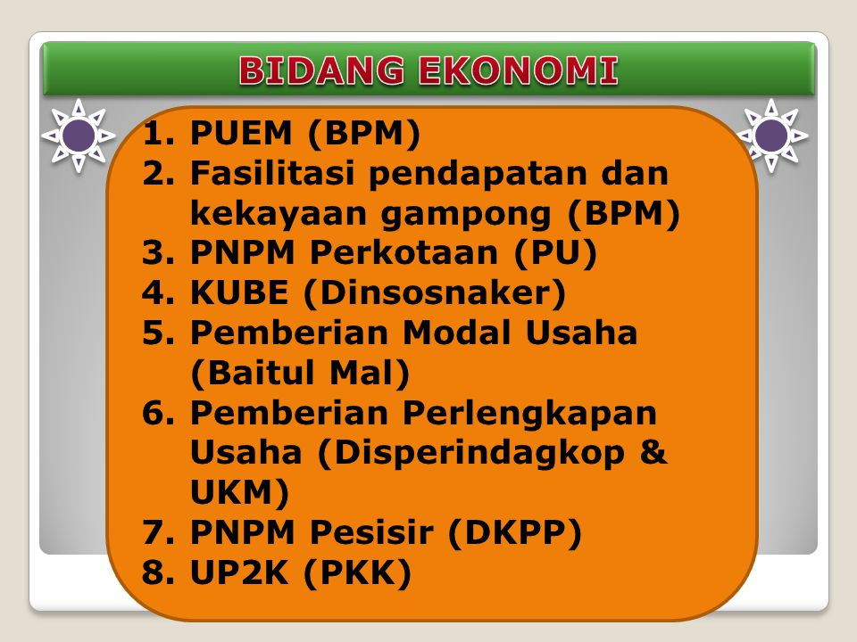 1.PUEM (BPM) 2.Fasilitasi pendapatan dan kekayaan gampong (BPM) 3.PNPM Perkotaan (PU) 4.KUBE (Dinsosnaker) 5.Pemberian Modal Usaha (Baitul Mal) 6.Pemberian Perlengkapan Usaha (Disperindagkop & UKM) 7.PNPM Pesisir (DKPP) 8.UP2K (PKK)