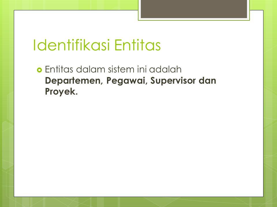 Identifikasi Entitas  Entitas dalam sistem ini adalah Departemen, Pegawai, Supervisor dan Proyek.