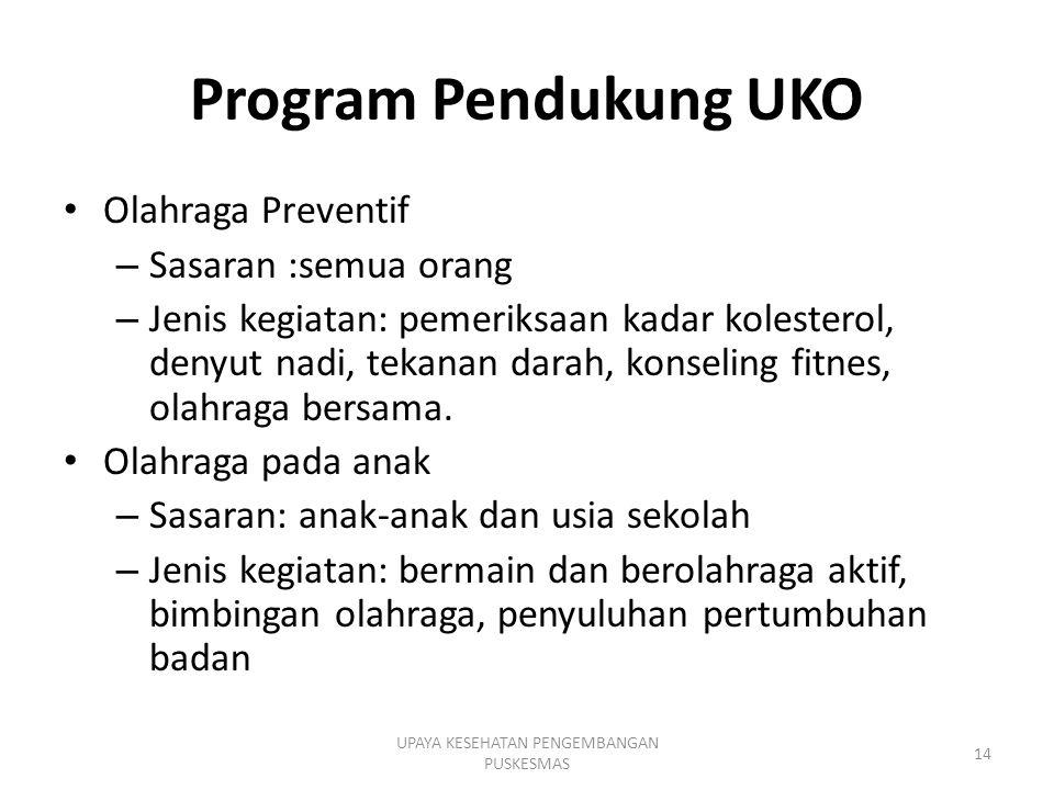 Program Pendukung UKO Olahraga Preventif – Sasaran :semua orang – Jenis kegiatan: pemeriksaan kadar kolesterol, denyut nadi, tekanan darah, konseling