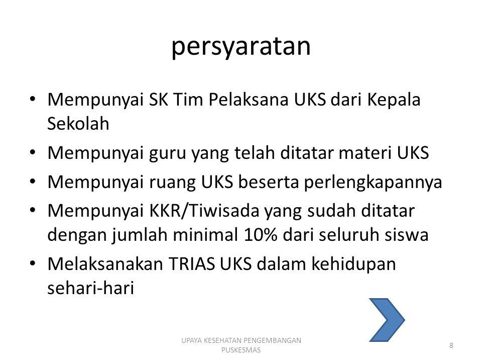 persyaratan Mempunyai SK Tim Pelaksana UKS dari Kepala Sekolah Mempunyai guru yang telah ditatar materi UKS Mempunyai ruang UKS beserta perlengkapanny