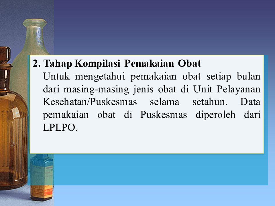 2. Tahap Kompilasi Pemakaian Obat Untuk mengetahui pemakaian obat setiap bulan dari masing-masing jenis obat di Unit Pelayanan Kesehatan/Puskesmas sel