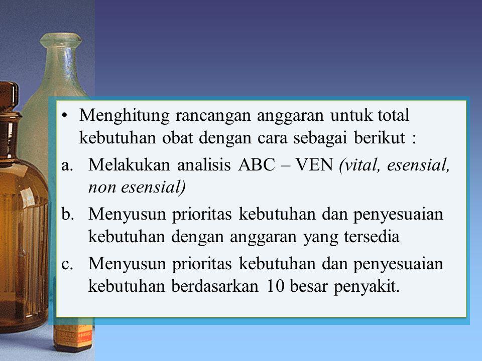 Menghitung rancangan anggaran untuk total kebutuhan obat dengan cara sebagai berikut : a.Melakukan analisis ABC – VEN (vital, esensial, non esensial)