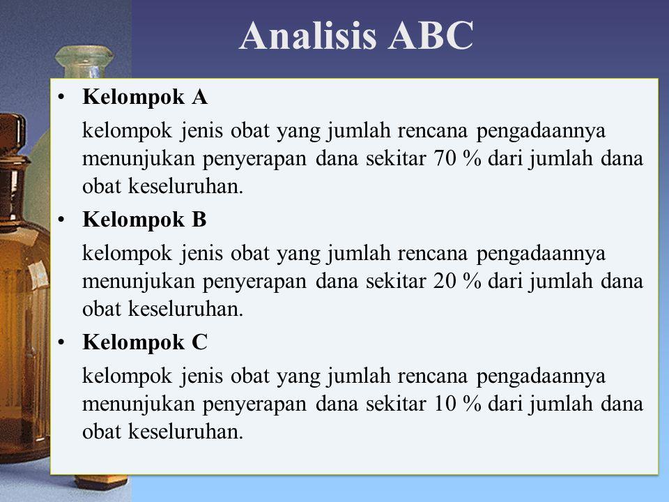 Analisis ABC Kelompok A kelompok jenis obat yang jumlah rencana pengadaannya menunjukan penyerapan dana sekitar 70 % dari jumlah dana obat keseluruhan