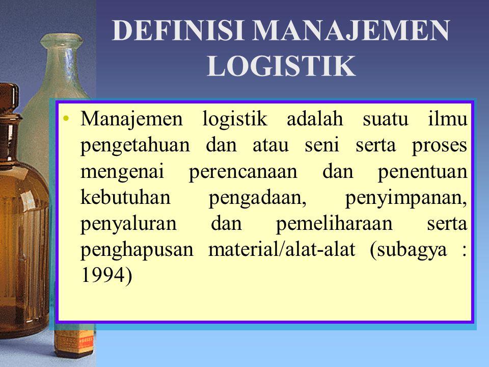 DEFINISI MANAJEMEN LOGISTIK Manajemen logistik adalah suatu ilmu pengetahuan dan atau seni serta proses mengenai perencanaan dan penentuan kebutuhan p