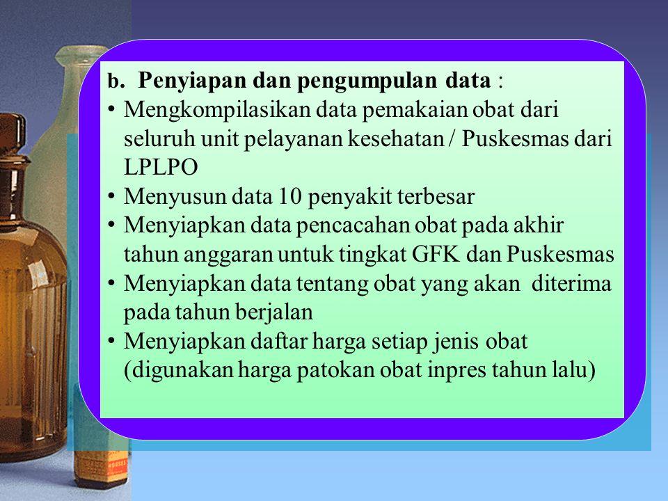 b. Penyiapan dan pengumpulan data : Mengkompilasikan data pemakaian obat dari seluruh unit pelayanan kesehatan / Puskesmas dari LPLPO Menyusun data 10