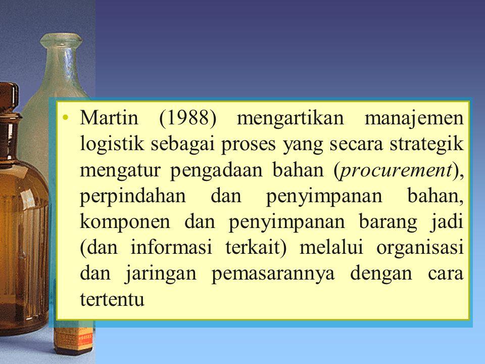 Martin (1988) mengartikan manajemen logistik sebagai proses yang secara strategik mengatur pengadaan bahan (procurement), perpindahan dan penyimpanan