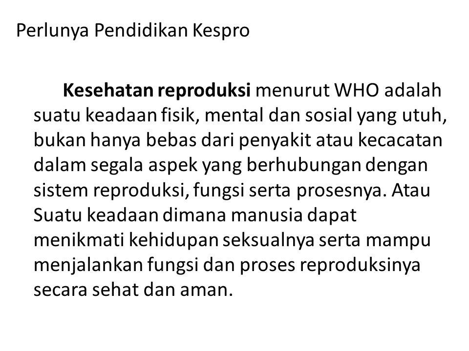 Perlunya Pendidikan Kespro Kesehatan reproduksi menurut WHO adalah suatu keadaan fisik, mental dan sosial yang utuh, bukan hanya bebas dari penyakit atau kecacatan dalam segala aspek yang berhubungan dengan sistem reproduksi, fungsi serta prosesnya.
