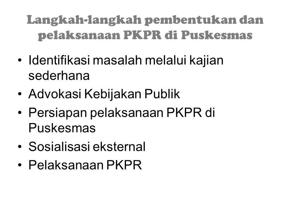 Langkah-langkah pembentukan dan pelaksanaan PKPR di Puskesmas Identifikasi masalah melalui kajian sederhana Advokasi Kebijakan Publik Persiapan pelaksanaan PKPR di Puskesmas Sosialisasi eksternal Pelaksanaan PKPR