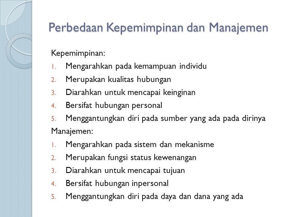 Perbedaan Kepemimpinan dan Manajemen Kepemimpinan: 1. Mengarahkan pada kemampuan individu 2. Merupakan kualitas hubungan 3. Diarahkan untuk mencapai k