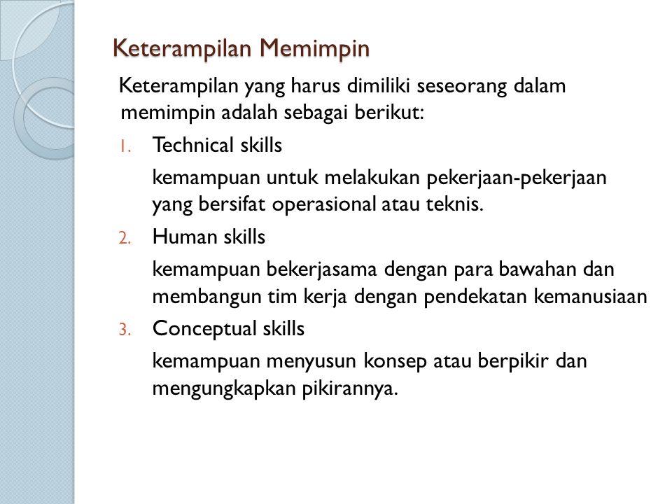 Keterampilan Memimpin Keterampilan yang harus dimiliki seseorang dalam memimpin adalah sebagai berikut: 1. Technical skills kemampuan untuk melakukan