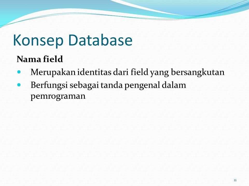 Konsep Database Nama field Merupakan identitas dari field yang bersangkutan Berfungsi sebagai tanda pengenal dalam pemrograman 11