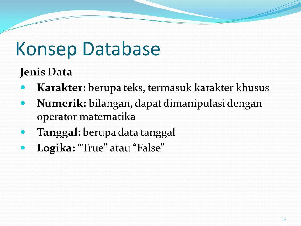 Konsep Database Jenis Data Karakter: berupa teks, termasuk karakter khusus Numerik: bilangan, dapat dimanipulasi dengan operator matematika Tanggal: b