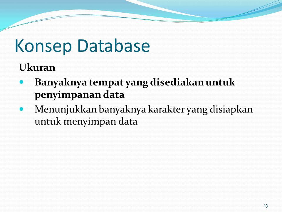 Konsep Database Ukuran Banyaknya tempat yang disediakan untuk penyimpanan data Menunjukkan banyaknya karakter yang disiapkan untuk menyimpan data 13