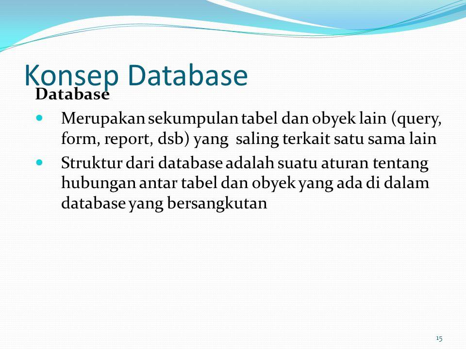 Konsep Database Database Merupakan sekumpulan tabel dan obyek lain (query, form, report, dsb) yang saling terkait satu sama lain Struktur dari databas