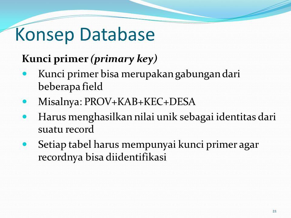 Konsep Database Kunci primer (primary key) Kunci primer bisa merupakan gabungan dari beberapa field Misalnya: PROV+KAB+KEC+DESA Harus menghasilkan nil