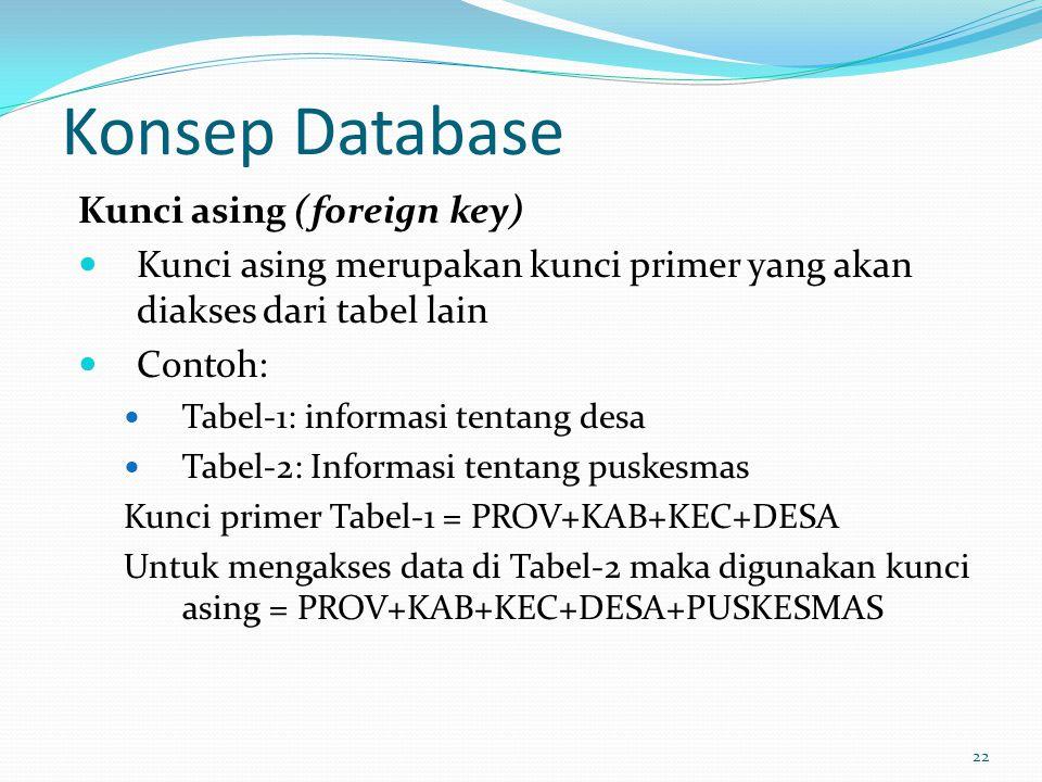 Konsep Database Kunci asing (foreign key) Kunci asing merupakan kunci primer yang akan diakses dari tabel lain Contoh: Tabel-1: informasi tentang desa
