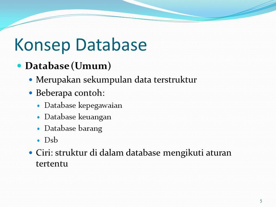 Konsep Database Database (Umum) Merupakan sekumpulan data terstruktur Beberapa contoh: Database kepegawaian Database keuangan Database barang Dsb Ciri