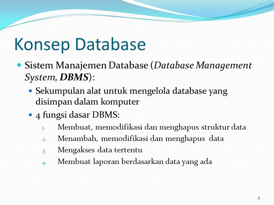 Konsep Database Sistem Manajemen Database (Database Management System, DBMS): Sekumpulan alat untuk mengelola database yang disimpan dalam komputer 4