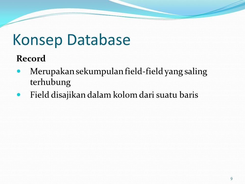 Konsep Database Record Merupakan sekumpulan field-field yang saling terhubung Field disajikan dalam kolom dari suatu baris 9