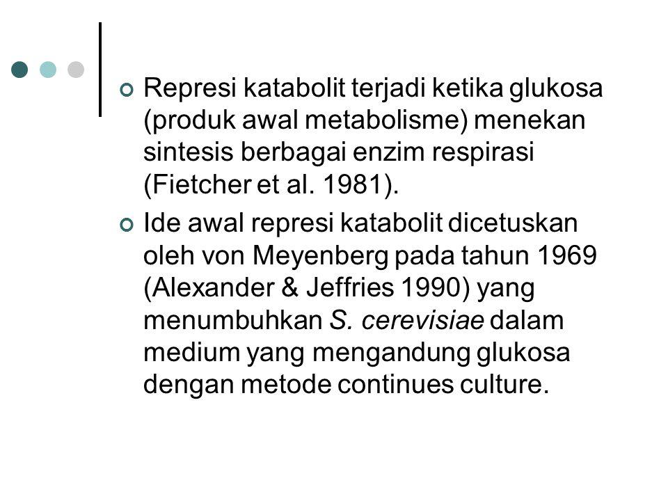 Represi katabolit terjadi ketika glukosa (produk awal metabolisme) menekan sintesis berbagai enzim respirasi (Fietcher et al. 1981). Ide awal represi