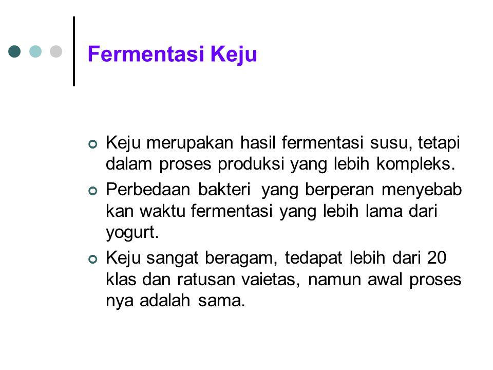 Fermentasi Keju Keju merupakan hasil fermentasi susu, tetapi dalam proses produksi yang lebih kompleks. Perbedaan bakteri yang berperan menyebab kan w