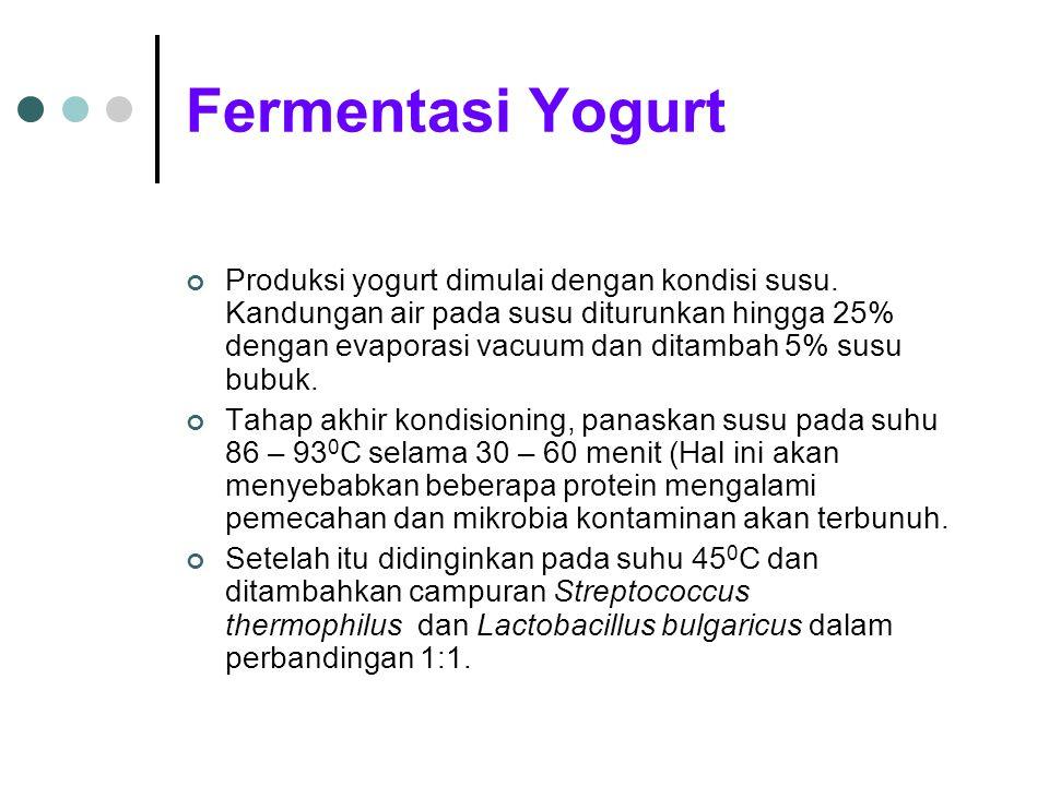 Fermentasi Yogurt Produksi yogurt dimulai dengan kondisi susu. Kandungan air pada susu diturunkan hingga 25% dengan evaporasi vacuum dan ditambah 5% s