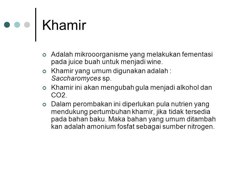 Khamir Adalah mikrooorganisme yang melakukan fementasi pada juice buah untuk menjadi wine. Khamir yang umum digunakan adalah : Saccharomyces sp. Khami