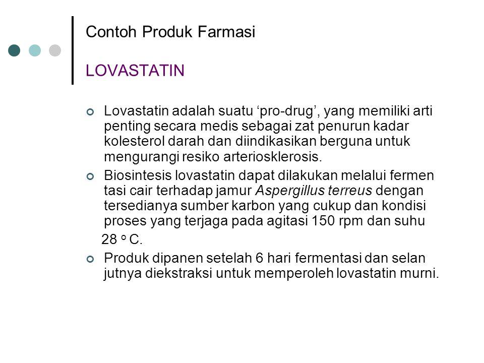 Contoh Produk Farmasi LOVASTATIN Lovastatin adalah suatu 'pro-drug', yang memiliki arti penting secara medis sebagai zat penurun kadar kolesterol dara