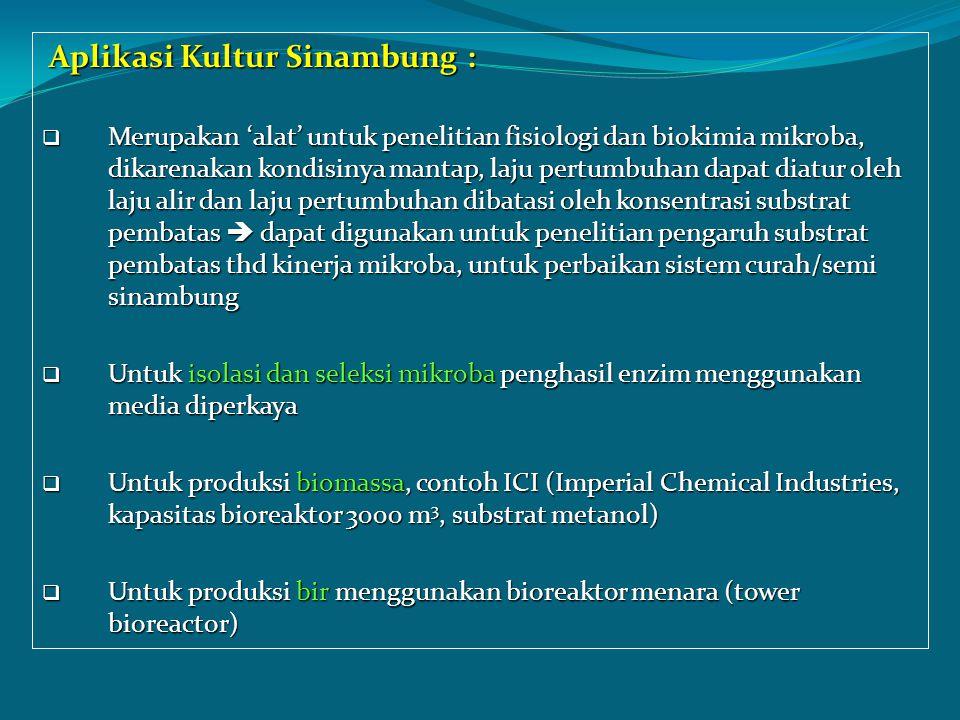 Aplikasi Kultur Sinambung : Aplikasi Kultur Sinambung :  Merupakan 'alat' untuk penelitian fisiologi dan biokimia mikroba, dikarenakan kondisinya man