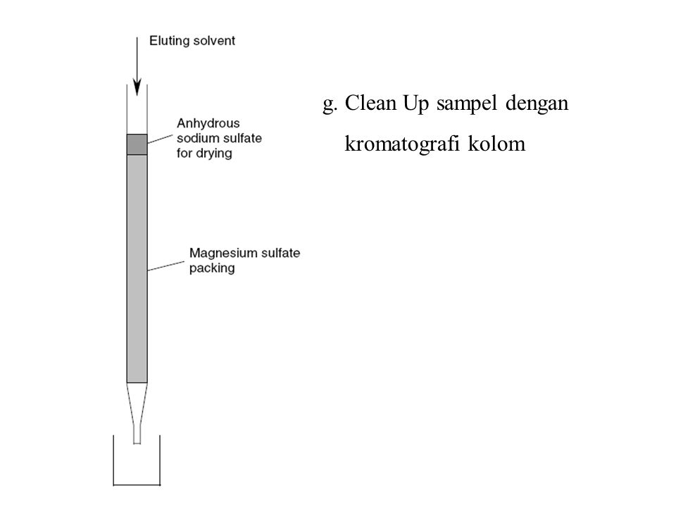g. Clean Up sampel dengan kromatografi kolom