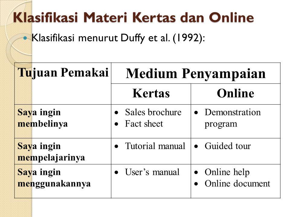 Klasifikasi Materi Kertas dan Online Klasifikasi menurut Duffy et al. (1992): Tujuan Pemakai Medium Penyampaian KertasOnline Saya ingin membelinya  S