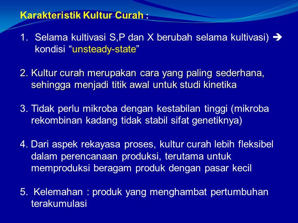 Karakteristik Kultur Curah : 1.Selama kultivasi S,P dan X berubah selama kultivasi)  kondisi unsteady-state 2.Kultur curah merupakan cara yang paling sederhana, sehingga menjadi titik awal untuk studi kinetika 2.Kultur curah merupakan cara yang paling sederhana, sehingga menjadi titik awal untuk studi kinetika 3.Tidak perlu mikroba dengan kestabilan tinggi (mikroba rekombinan kadang tidak stabil sifat genetiknya) 4.