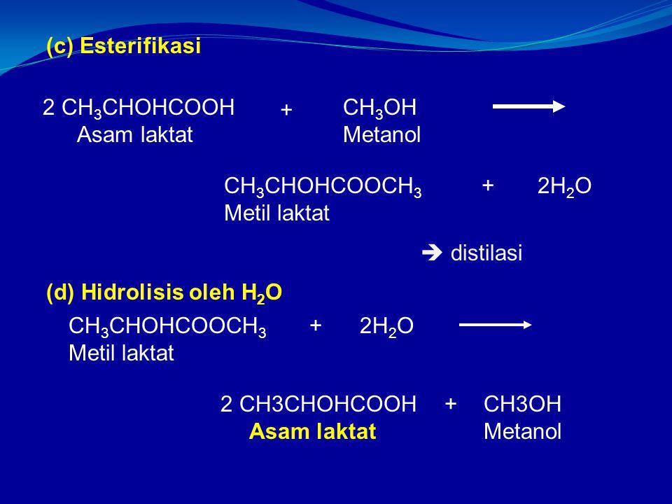 (c) Esterifikasi CH 3 OH Metanol 2 CH 3 CHOHCOOH Asam laktat + CH 3 CHOHCOOCH 3 Metil laktat 2H 2 O+ (d) Hidrolisis oleh H 2 O CH 3 CHOHCOOCH 3 Metil laktat + 2 CH3CHOHCOOH Asam laktat + CH3OH Metanol 2H 2 O  distilasi