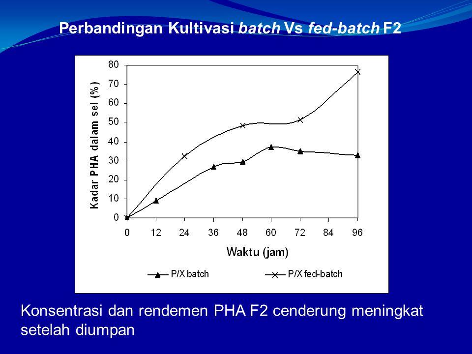 Perbandingan Kultivasi batch Vs fed-batch F2 Konsentrasi dan rendemen PHA F2 cenderung meningkat setelah diumpan