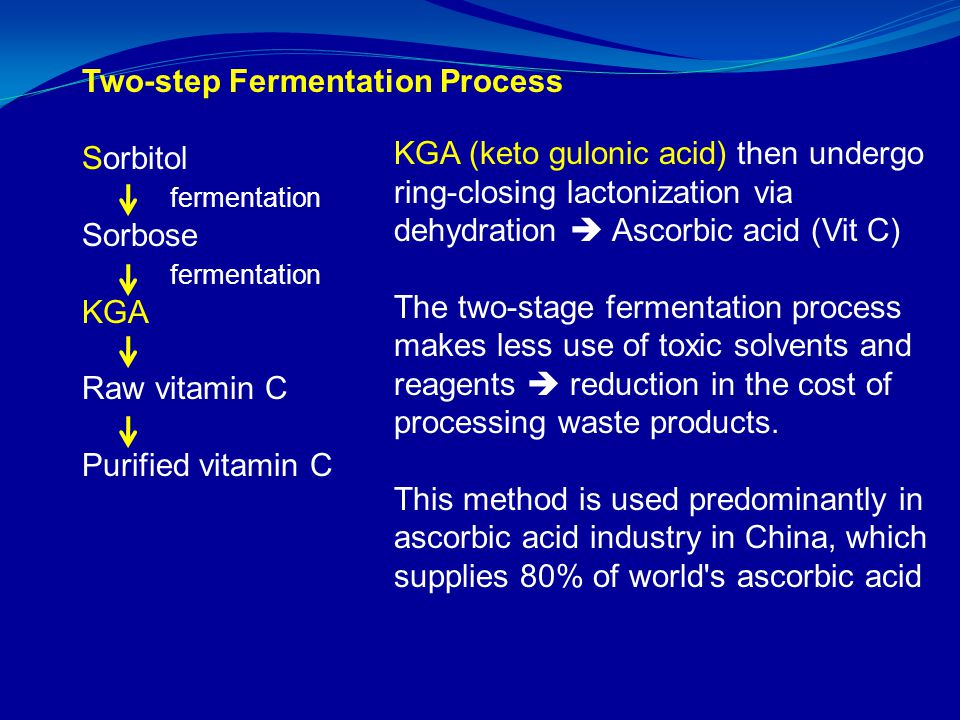 Two-step Fermentation Process Sorbitol fermentation Sorbose fermentation KGA Raw vitamin C Purified vitamin C KGA (keto gulonic acid) then undergo ring-closing lactonization via dehydration  Ascorbic acid (Vit C) The two-stage fermentation process makes less use of toxic solvents and reagents  reduction in the cost of processing waste products.