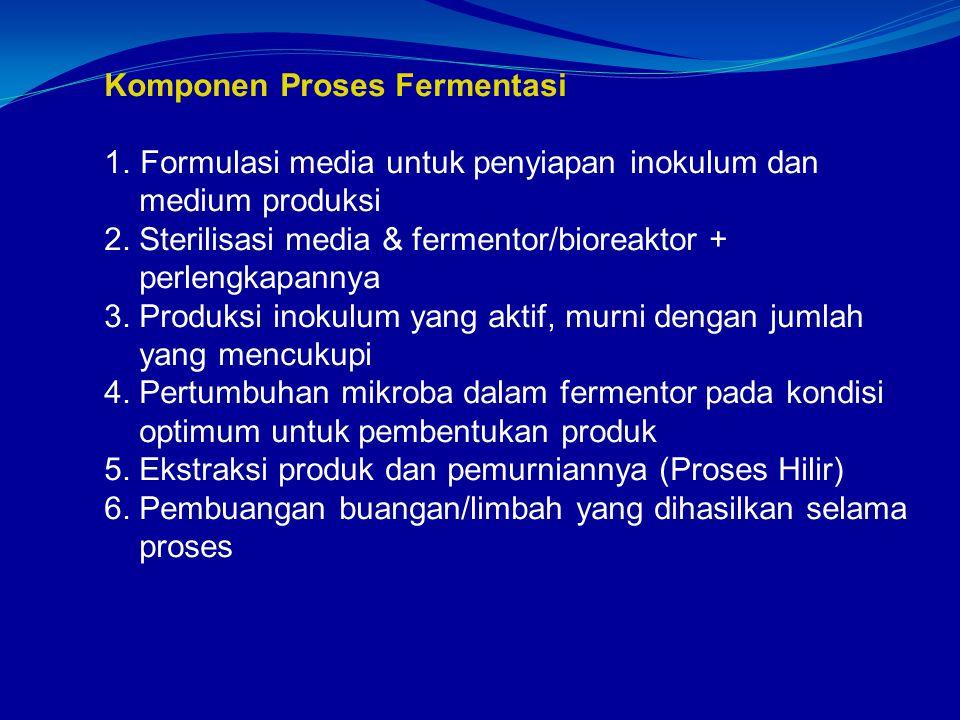 Komponen Proses Fermentasi 1.Formulasi media untuk penyiapan inokulum dan medium produksi 2.