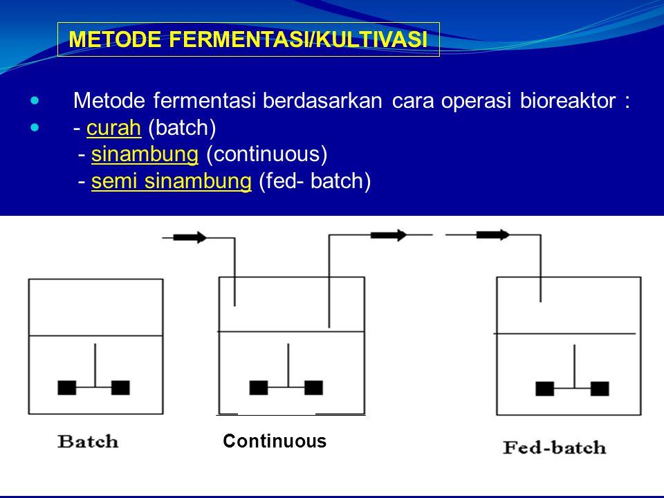 Metode fermentasi berdasarkan cara operasi bioreaktor : - curah (batch) - sinambung (continuous) - semi sinambung (fed- batch) METODE FERMENTASI/KULTIVASI Continuous