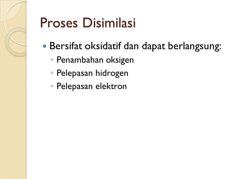 Proses Disimilasi Bersifat oksidatif dan dapat berlangsung: ◦ Penambahan oksigen ◦ Pelepasan hidrogen ◦ Pelepasan elektron