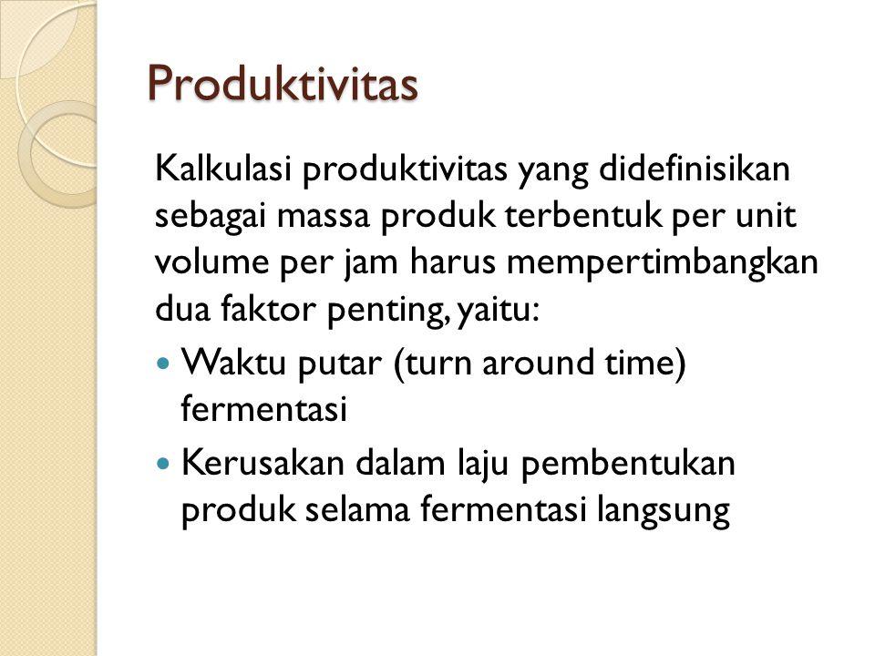 Produktivitas Kalkulasi produktivitas yang didefinisikan sebagai massa produk terbentuk per unit volume per jam harus mempertimbangkan dua faktor penting, yaitu: Waktu putar (turn around time) fermentasi Kerusakan dalam laju pembentukan produk selama fermentasi langsung