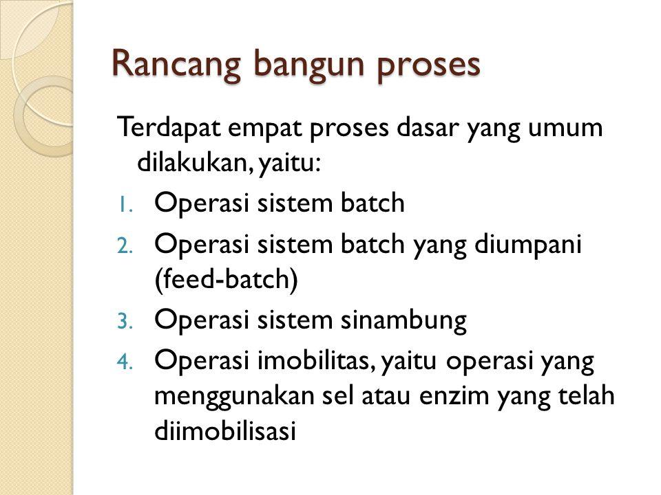 Rancang bangun proses Terdapat empat proses dasar yang umum dilakukan, yaitu: 1. Operasi sistem batch 2. Operasi sistem batch yang diumpani (feed-batc
