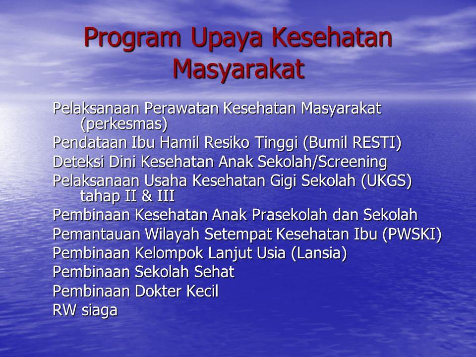 Program Upaya Kesehatan Masyarakat Pelaksanaan Perawatan Kesehatan Masyarakat (perkesmas) Pendataan Ibu Hamil Resiko Tinggi (Bumil RESTI) Deteksi Dini