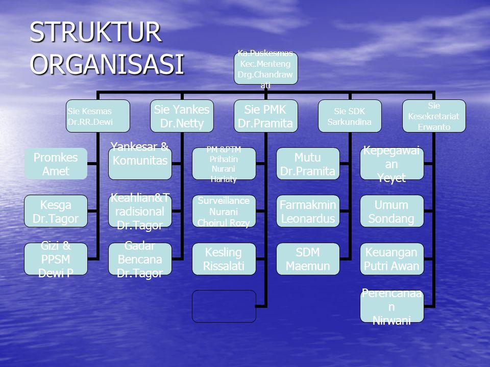 STRUKTUR ORGANISASI Ka.Puskesmas Kec.Menteng Drg.Chandrawati Sie Kesmas Dr.RR.Dewi Promkes Amet Kesga Dr.Tagor Gizi & PPSM Dewi P Sie Yankes Dr.Netty