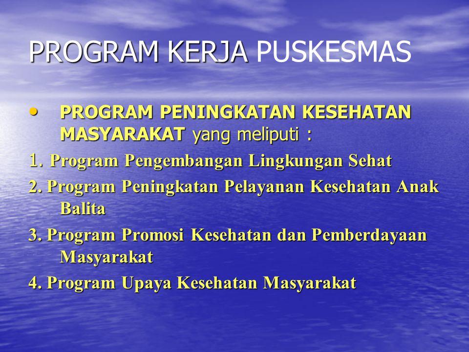 PROGRAM KERJA PROGRAM KERJA PUSKESMAS PROGRAM PENINGKATAN KESEHATAN MASYARAKAT yang meliputi : PROGRAM PENINGKATAN KESEHATAN MASYARAKAT yang meliputi