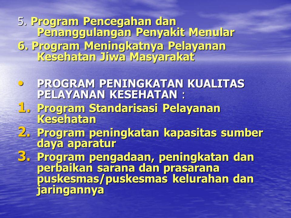 5. Program Pencegahan dan Penanggulangan Penyakit Menular 6. Program Meningkatnya Pelayanan Kesehatan Jiwa Masyarakat PROGRAM PENINGKATAN KUALITAS PEL