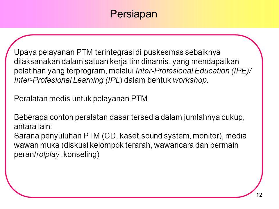 Upaya pelayanan PTM terintegrasi di puskesmas sebaiknya dilaksanakan dalam satuan kerja tim dinamis, yang mendapatkan pelatihan yang terprogram, melalui Inter-Profesional Education (IPE)/ Inter-Profesional Learning (IPL) dalam bentuk workshop.