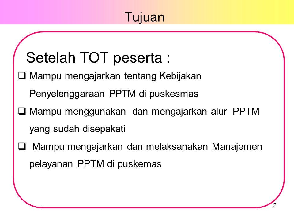 Tujuan 2 Setelah TOT peserta :  Mampu mengajarkan tentang Kebijakan Penyelenggaraan PPTM di puskesmas  Mampu menggunakan dan mengajarkan alur PPTM yang sudah disepakati  Mampu mengajarkan dan melaksanakan Manajemen pelayanan PPTM di puskemas