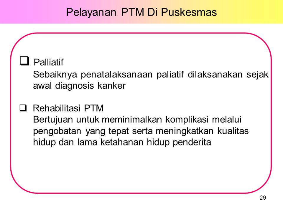  Palliatif Sebaiknya penatalaksanaan paliatif dilaksanakan sejak awal diagnosis kanker  Rehabilitasi PTM Bertujuan untuk meminimalkan komplikasi melalui pengobatan yang tepat serta meningkatkan kualitas hidup dan lama ketahanan hidup penderita 29 Pelayanan PTM Di Puskesmas