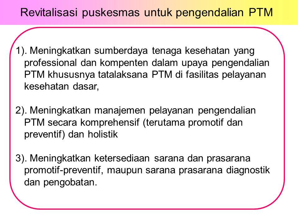 1). Meningkatkan sumberdaya tenaga kesehatan yang professional dan kompenten dalam upaya pengendalian PTM khususnya tatalaksana PTM di fasilitas pelay