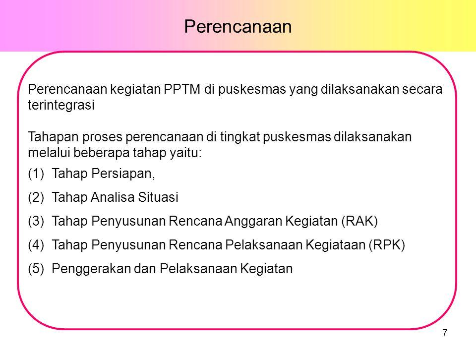 Perencanaan Perencanaan kegiatan PPTM di puskesmas yang dilaksanakan secara terintegrasi Tahapan proses perencanaan di tingkat puskesmas dilaksanakan melalui beberapa tahap yaitu: (1)Tahap Persiapan, (2)Tahap Analisa Situasi (3)Tahap Penyusunan Rencana Anggaran Kegiatan (RAK) (4)Tahap Penyusunan Rencana Pelaksanaan Kegiataan (RPK) (5)Penggerakan dan Pelaksanaan Kegiatan 7
