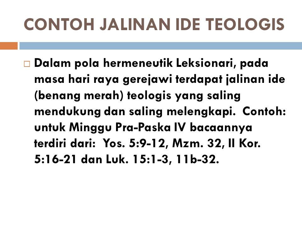 CONTOH JALINAN IDE TEOLOGIS  Dalam pola hermeneutik Leksionari, pada masa hari raya gerejawi terdapat jalinan ide (benang merah) teologis yang saling